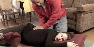 girl getting back massage